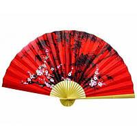 Веер яркий на стену красный Сакура с бамбуком