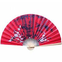 Настенный веер декоративный красный Сакура с бамбуком