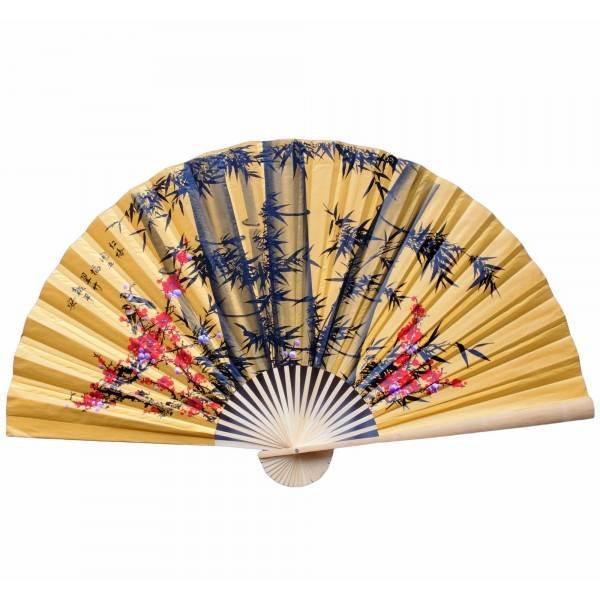 Желтый настенный веер Сакура с бамбуком