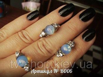 Серьги и кольцо (Вставка - лунный камень)