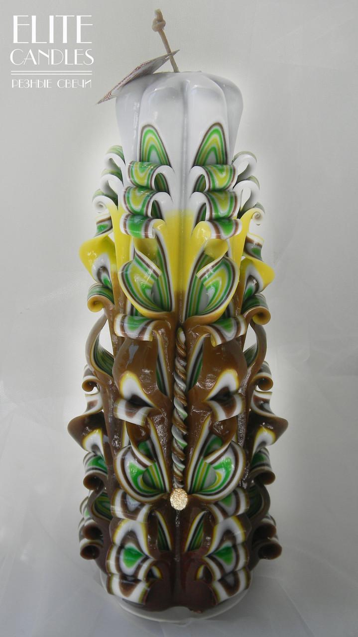 Резная свеча большая, коричневого цвета, 30 см высотой