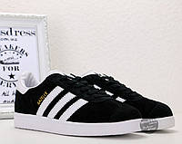 ✅ Кроссовки-кеды мужские Adidas Gazelle Black  | Адидас Газель мужские черные замша 46