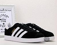 Мужские кроссовки Adidas Gazelle Black Адидас Газель черные замша кеды