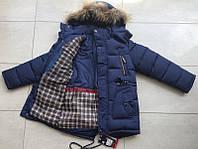 Куртка парка зимняя на мальчика 134-158 см, возраст 7,8,9,10,11 лет. Синяя