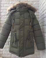 Куртка парка зимняя на мальчика 134-158 см, возраст 7,8,9,10,11 лет. Зеленая