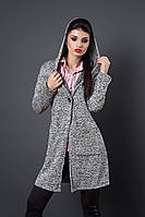 Молодежная куртка-кардиган на пуговице серого цвета