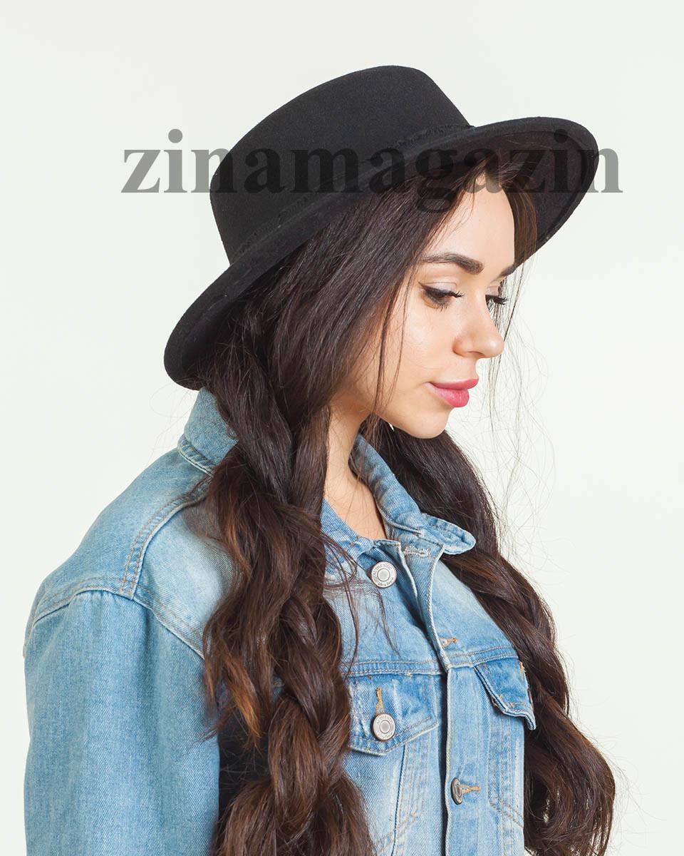 Осенняя шляпа канотье черная