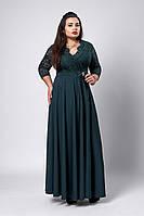 Элегантное длинное женское платье бутылочного цвета