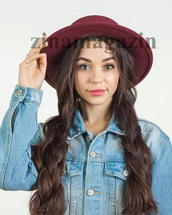 Осенняя шляпа канотье бордовая, фото 2