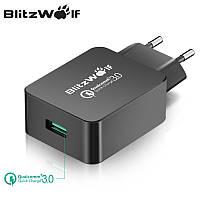 Универсальное умное зарядное устройство BlitzWolf BW-S5 18W-24W Quick Charge 3.0 Быстрая зарядка. Черный цвет.