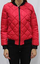 Куртка-бомбер, короткая молодежная осенняя,  красная