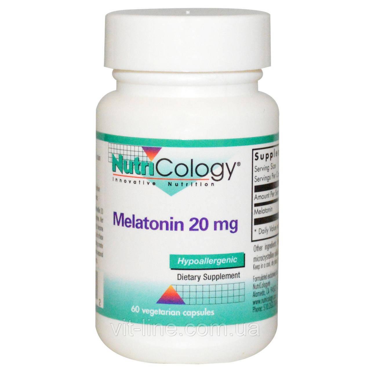 Nutricology, Мелатонин, 20 мг, 60 растительных капсул