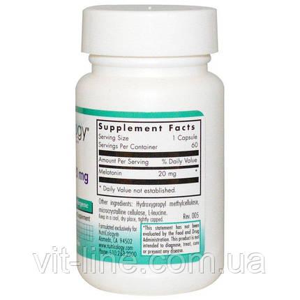Nutricology, Мелатонин, 20 мг, 60 растительных капсул, фото 2
