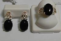 Комплект из серебра 925, золота 375 и черного оникса Ночь, фото 1