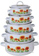 Набор кастрюль эмалированных A-PLUS 10 предметов (096-NEW) Белые ( Сколы на кастрюлях )