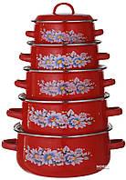 Набор кастрюль эмалированных A-PLUS 10 предметов (096-NEW) Красные ( Сколы на кастрюлях )