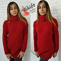 Красный свитер с воротником хомут