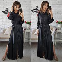 Длинное шелковое платье черного цвета