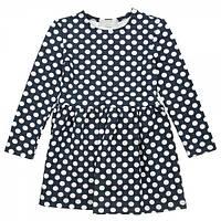 Платье трикотажное для девочки Kids Couture 16-17 темно-синее в горох 110
