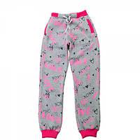 Штаны трикотажные для девочки Kids Couture 4-060 серые с розовым 140