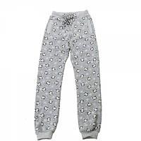 Штаны трикотажные для девочки Kids Couture 4-060 серые с пингвинами 122