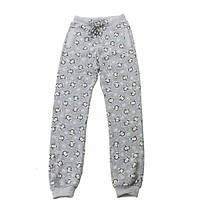 Штаны трикотажные для девочки Kids Couture 4-060 серые с пингвинами 140