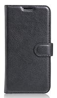 Кожаный чехол-книжка для HomTom HT16 черный