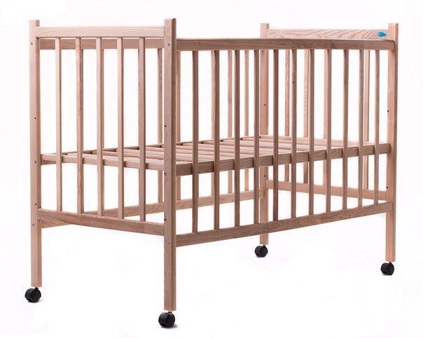Кровать Наталка Простая (регулировка дна, колесики) без лака свелтый Ясень
