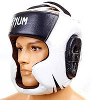 Шлем для бокса(кожа)с полной защитой VENUM CHALLENGER 2.0(VN-5246-BK)черно-белый