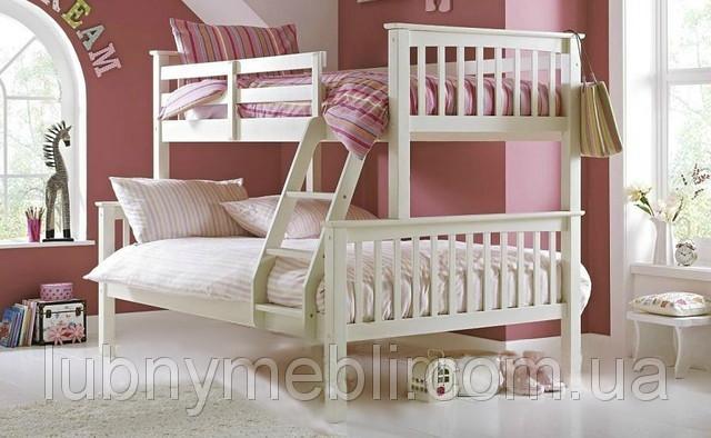 """Белая двухъярусная кровать для детской """"Виктория"""""""