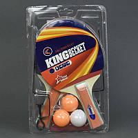 Ракетка 5011 А для настольного тенниса (50) с сеткой, 2ракетки + 3шарика, 5 слоёв, в слюде