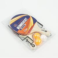 Ракетка 7010 А для настольного тенниса (50) с сеткой, 2ракетки + 3шарика, 6 слоёв, в слюде