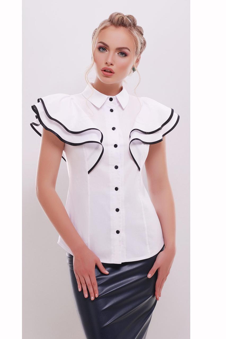 a15f3b276237 Купить Женская белая блуза с пышными крылышками-воланами и черной отделкой  по ...