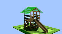 2-х ярусный детский деревянный домик площадка с горкой