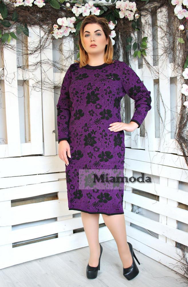 Вязаное теплое платье Цветы больших размеров, фото 1