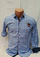 Рубашка в клетку на мальчиков  134, 146, 158 роста Небесно-голубой