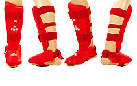 Защита голени с футами для единоборств PU DAEDO  (р-р XS-XL, красный), фото 1