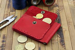 Кожаный кошелек с зажимом для денег и отделением для мелочи (281024) - красный, фото 2