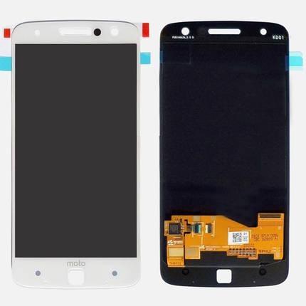 Дисплей (екран) для Motorola XT1650-03 Moto Z з сенсором (тачскріном) білий, фото 2