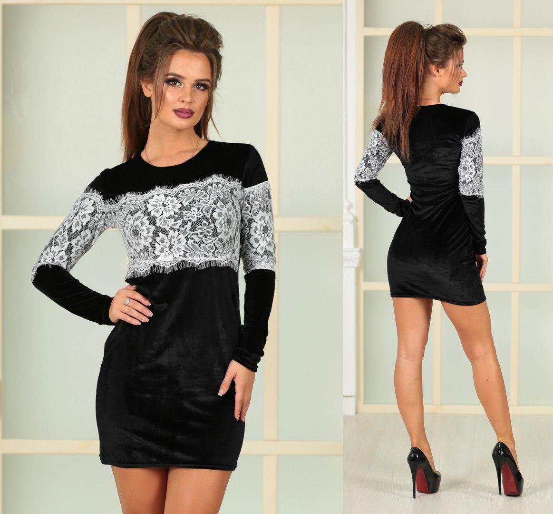 8de8ea4f34a Маленькое черное платье с кружевной вставкой - Интернет-магазин
