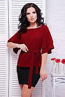 Женская бордовая блуза Louise Fashion UP 42-52 размеры