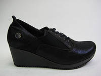 Кожаные женские туфли синего цвета ТМ Mammamia