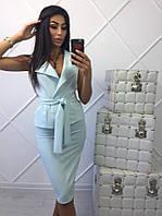 Нежно-голубой юбочный костюм двойка люкс