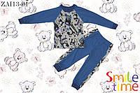Пижама утепленная детская р.98,104,110,116,122,128 (домашний костюм) SmileTime Панда, бирюзовая