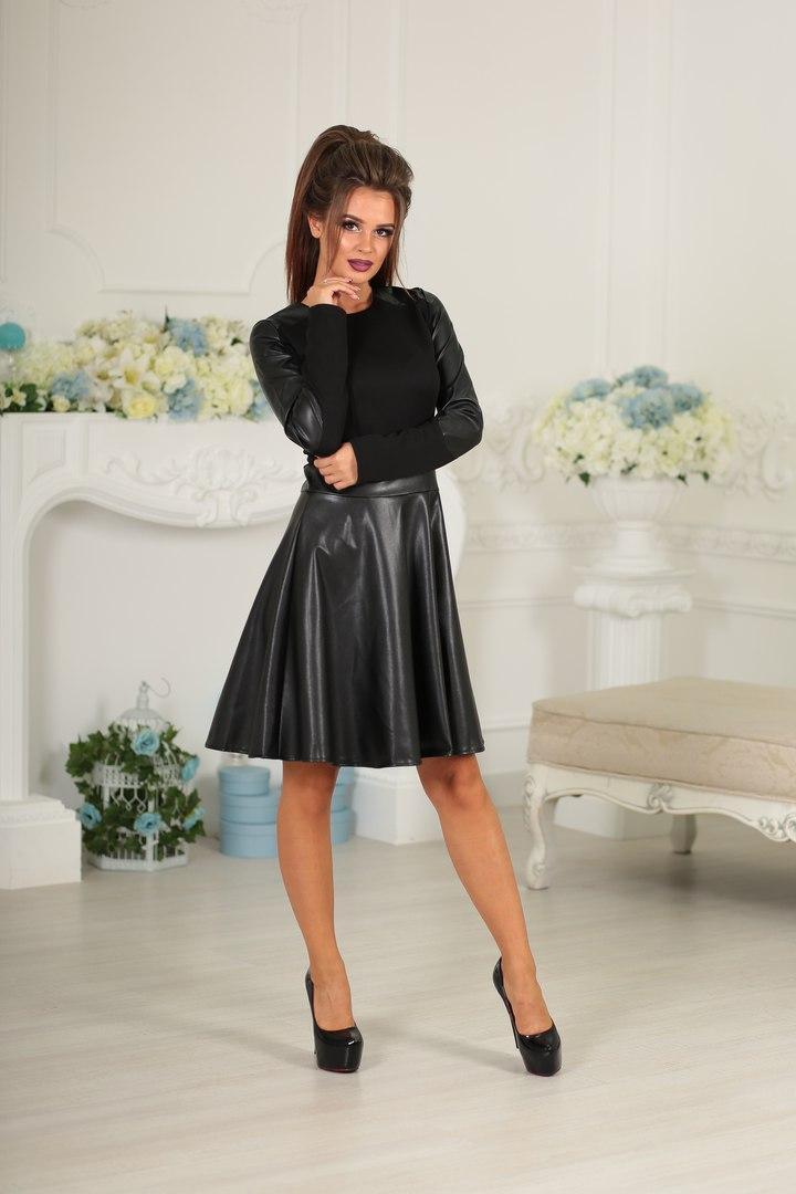 889d4fafd03 Черное платье с кожаной юбкой - Интернет-магазин