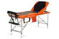 Массажный стол BodyFit  алюминиевый 3х сегментный  черно-оранжевый