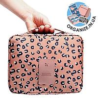 Дорожная косметичка с отстегивающимся кармашком Monopoly Travel (Pink Leo) реплика