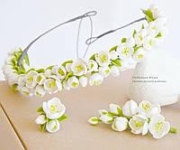 """Свадебный комплект """"Жасмин"""" (венок, бутоньерка, кольцо)"""