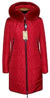 Молодежный,теплый,модный зимний пуховик больших размеров на силиконе цвет красный р-42,44,46,48,50,52,54,56