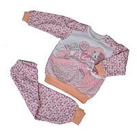Пижама бело-розового цвета с принтом для девочки, Ля-Ля